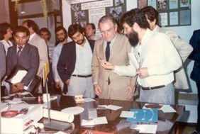 Inauguration of DEMa's main building in November 1986, with the presence of the Minister of Science and Technology Renato Archer. Before that, the department's activities were carried out in the campus' southern area, where the Center for Education and Human Sciences departments are currently located.